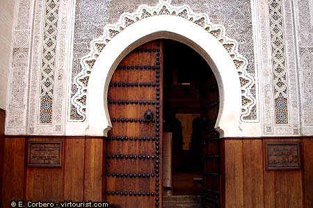 In The Picture You Can See A Rich Decorated Door. It Gives Access To A  Mosque. As Anywhere Else In Morocco Mosques Can Only Be Visited By Muslims.
